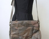 Vintage 80s Leather Patchwork Handbag Purse Neutral Beige Gray