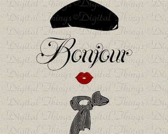 Bonjour Script French Woman French Script French Decor Printable Digital Download for Iron on Transfer Fabric Pillows Tea Towels DT1222