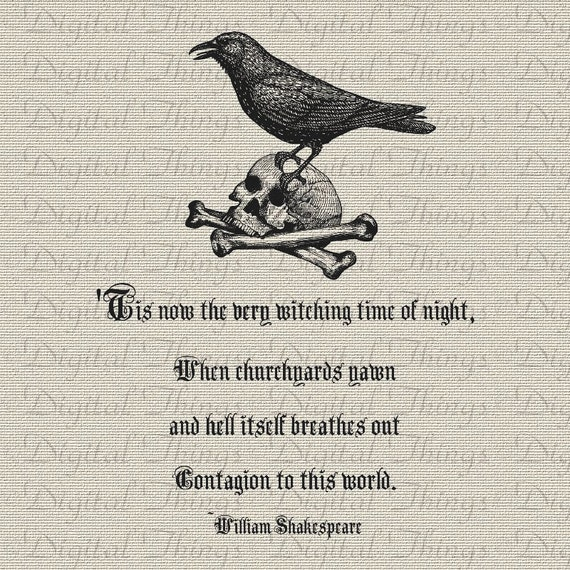 Sayings About Ravens: Halloween Skull Raven William Shakespeare Quote Wall Decor