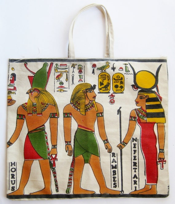Vintage Walk Like an Egyptian Nefertari Pyramids Hieroglyphics Print Canvas Tote Bag