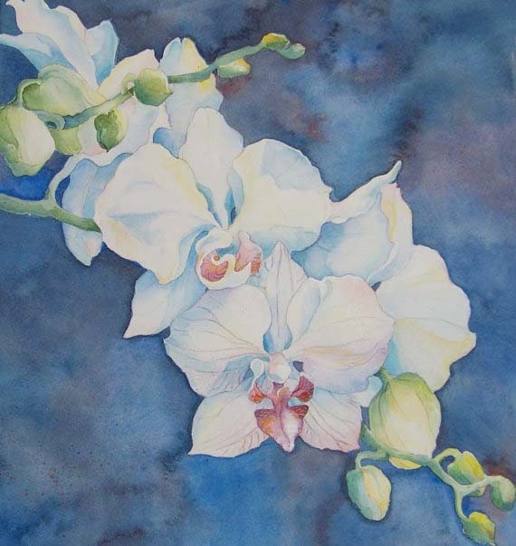 Before Midnight - original orchid watercolor in ivory, indigo and violet
