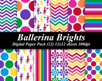 Ballerina Brights Digital Paper Pack (12) 12x12 sheets 300 dpi scrapbooking dance chevron polka dot