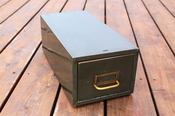 Green Metal File Drawer, Industrial Metal Card File Cabinet
