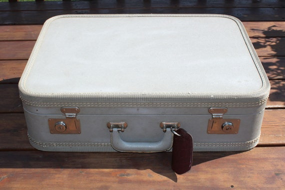 Mid Century Hard Gray Suitcase with Red Interior