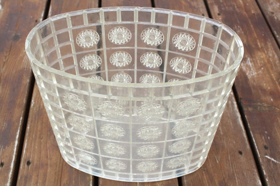 Vintage Garbage Can Plastic Lucite Acrylic Clear Trash Can