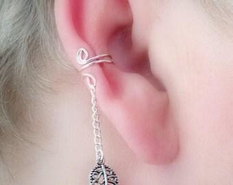 Ear Cuff/ Leaf Filigree Dangle Antique Silverplate