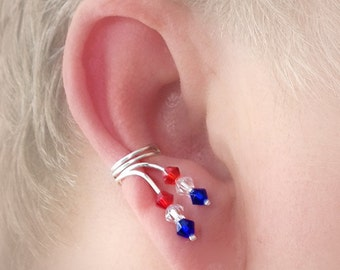 Patriotic Red White and Blue Crystal Ear Cuff Pair Non Pierced