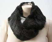 SALE - Dark Chocolate Faux Fur Cowl Brown