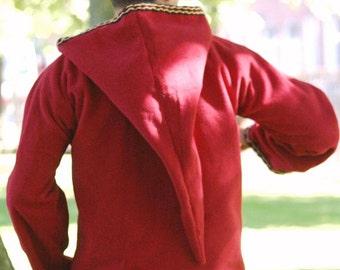 Medieval Pixie Hoodie - Red Hippie Elven Rave or Festival Top - Legend of Zelda Inspired - PSY hoodie - game of thrones