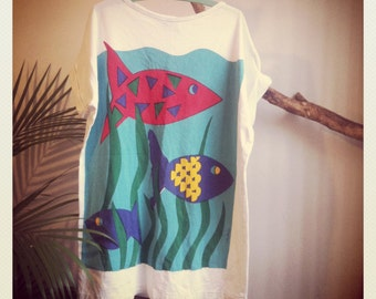 Deep Sea Tall Tee Xtra-long Dope Design Illustrated Fish Sealife Eco Friendly Bold Graphics w/ Primary Colors Crispy White Tee Wide Neck