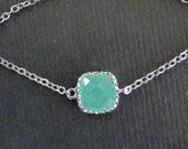 Sale-Cushion Cut Green Opal Rim Connector-necklace