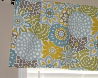 """Waverly Buttons and Blooms Spa Valance 50"""" wide x 16"""" long Big Bold Flowers Lined Light Blue Yellow Teal Putty Avocado Green"""