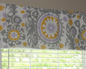 """Premier Prints Wisteria Suzani Valance 50"""" wide x 16"""" long Lined with Cotton Muslin Gray Wisteria Lilac Yellow"""