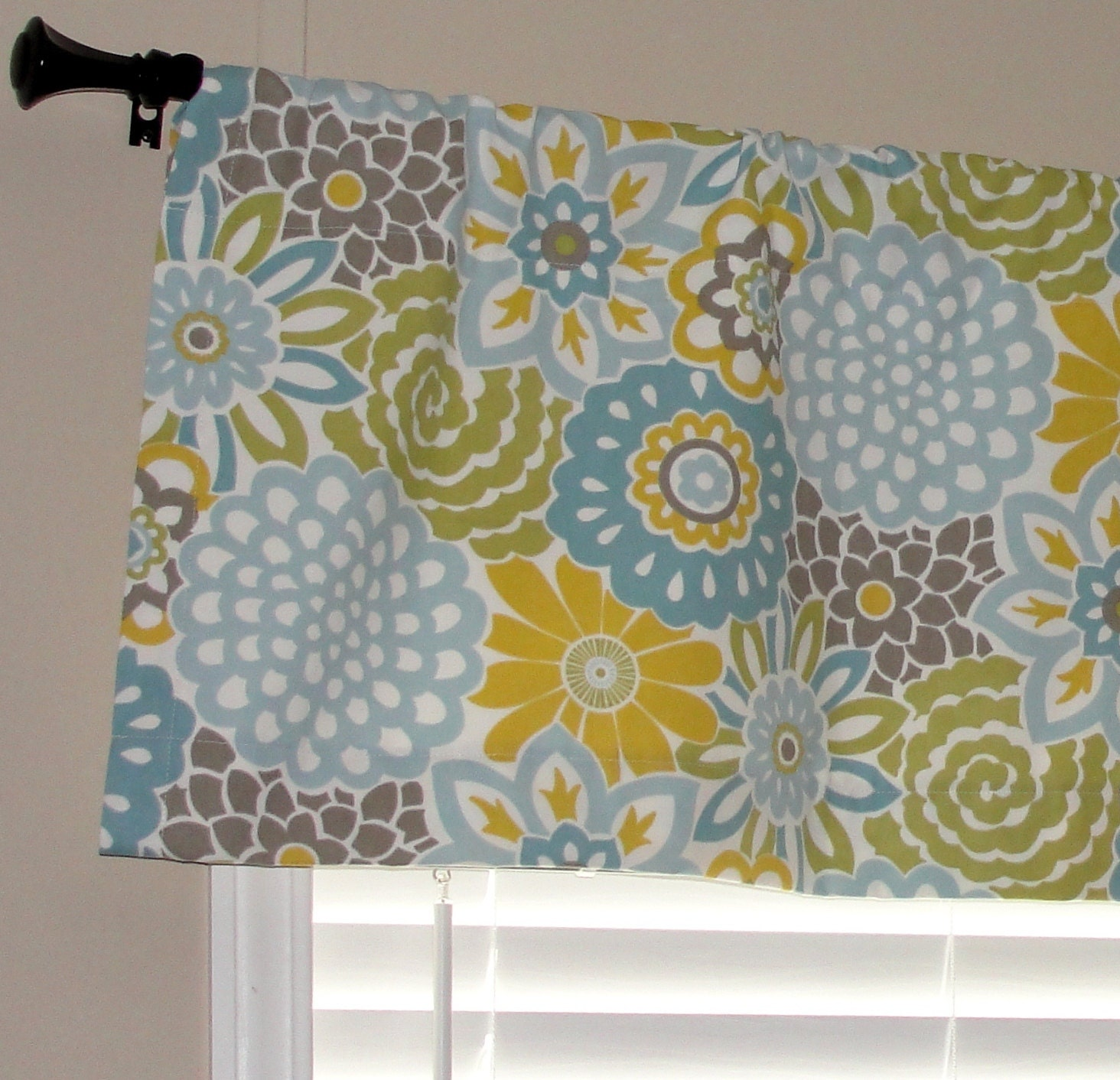 Blue And Yellow Kitchen Curtains: Waverly Buttons And Blooms Spa Valance 50 Wide X