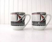 Vintage Navajo Style Ceramic Coffee Mugs