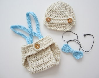 Crochet Baby Boy Newsboy Set with Suspenders and Bowtie, Photography Prop Set, Size Newborn and Infant – Aran & Light Blue