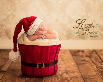 Crochet Baby Santa Hat Newborn Infant Toddler Girl Boy Photo Prop Made to Order - Cherry Red & White