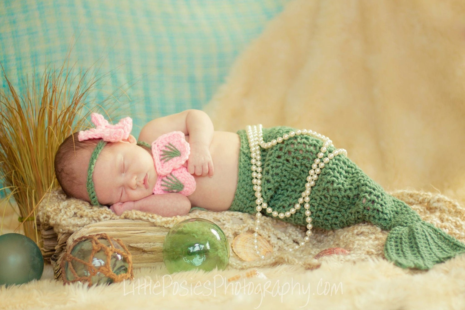 Crochet Patterns Mermaid : Crochet Mermaid Photo Prop Set Baby Girl by JustForBabyWithLove