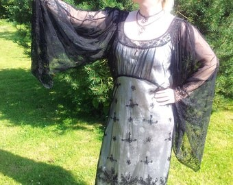 DARK STAR Gothic Black Lace Sheer Chiffon Over Dress with Wide Sleeves Free size