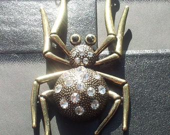 Sale Unusual Bronze Colour Large Spider Pendant on a Chain Necklace Gothic Steampunk Emo Punk