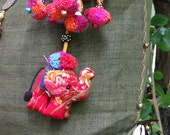 Key Chain Elephant Zip Pull Pom Pom Bag Accessory Decoration Handmade by HMONG Tribe Thailand (ACC002-R)