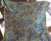 Large Waterproof Wetbag with blues and greens, flowers & paisley