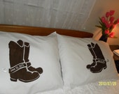 His and Hers Cowboy Boots, Hand Painted, Pillow Cases - Personalized