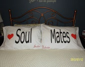 SOUL MATES Hand Painted, Couples Pillow Cases - Personalized - Bedroom Decor