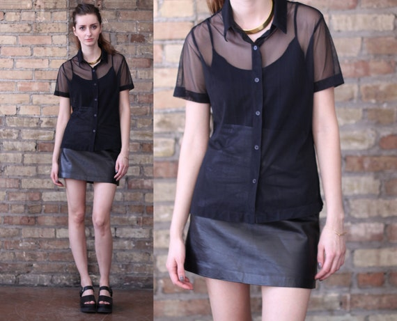 black sheer shirt // button up top // vintage 90s mesh // xsmall  small