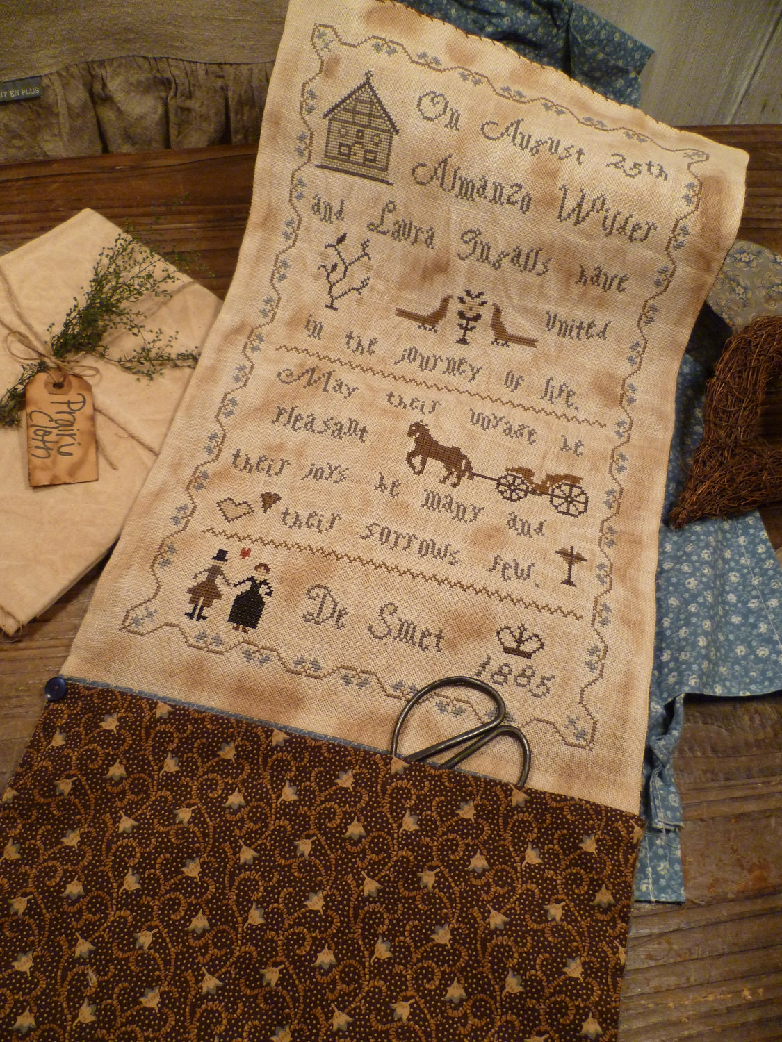 Reserved for montine completed prim sewing pouch laura for Laura ingalls wilder wedding dress