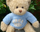 Teddy Bear Sweater - Hand knitted - Blue with Paw Print Motif - fits Build a Bear