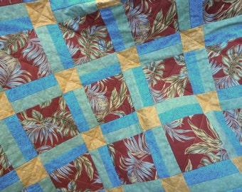 Hawaiian Print Quilt, Hawaiian Floral Quilt, Hawaiian Quilt, Brown Quilt, Green and Blue Quilt