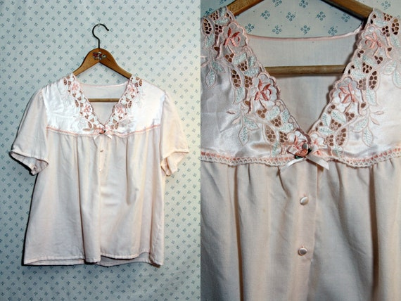 SALE upcycled vintage pink womens size small to medium night shirt