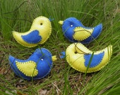 Felt Birds ,felt toy, bird garland, black and white, birds in love,home decor, red heart ,Yin and Yang, felt plush