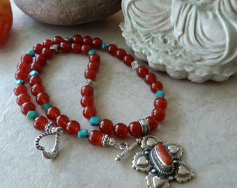 Red Carnelian and Blue Turquoise - Bali Silver - Lotus Blossom - Artisan Pendant Necklace