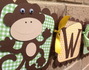 Going Bananas Birthday Banner Brown Yellow and Green