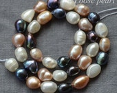 Large Hole pearl 7.5-8.5mm Baroque pearl Loose Bead Potato Mixed Color Freshwater Pearl 35pcs Good Quality Full Strand Item No : PL3079