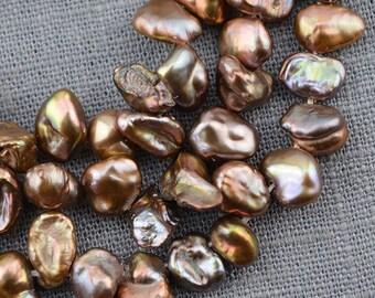 Freshwater Pearl Keshi Pearl Brown Loose Pearl 6.0-7.5mm 65pcs Bridal design wedding Full Strand Item No : PL4088