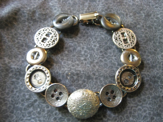 Button Jewelry - button bracelet with new and vintage metal buttons in silver