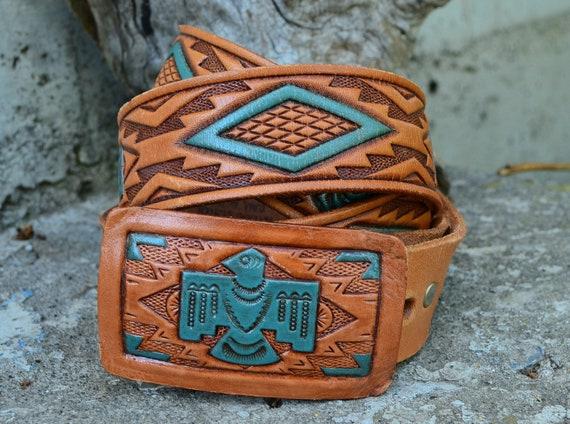 Vintage Native American Thunderbird Belt and Buckle