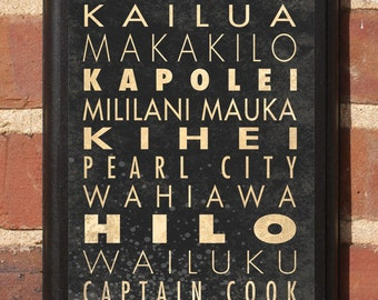 Hawaii HI Cities Wall Art Sign Plaque Gift Present Personalized Color Custom Home Decor Vintage Style Honolulu Oahu Mauna Hilo Lanai Classic