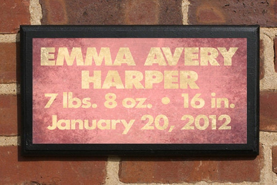 Personalized Custom Made Baby Christening or Special Occasion Gift Vintage Style Wall Plaque/Sign Decorative & Custom