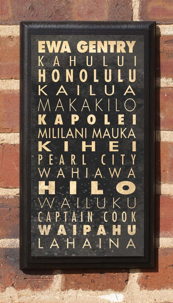 Cities of Hawaii Subway Scroll Vintage Style Wall Plaque / Sign
