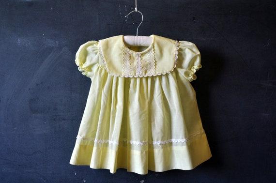 sunny yellow baby girl dress, eyelet and lace trim, bib collar, mint