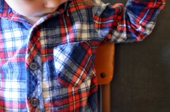 4t  retro cotton flannel button up shirt, red white blue plaid, toddle time, grandpa shirt