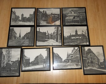10 Vintage Professionally Framed Prints...The Living Past Of Montreal...1964 R D Wilson / E Mc Lean