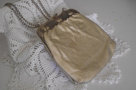 Vintage purse gold  lame clutch style or shoulder bag Gatsby style