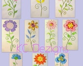 Vintage Flower Full Set Machine Applique Embroidery Design - 5x7 & 6x8
