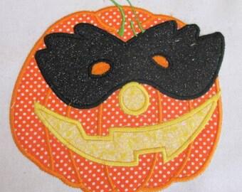 Halloween Masked Pumpkin Machine Applique Embroidery Design - 4x4, 5x7 & 6x8