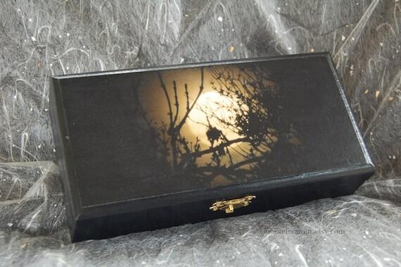 Altar box, Tarot Box, Moon box, wooden keepsake box, jewellery box, black velvet,  trinket box, black, full moon